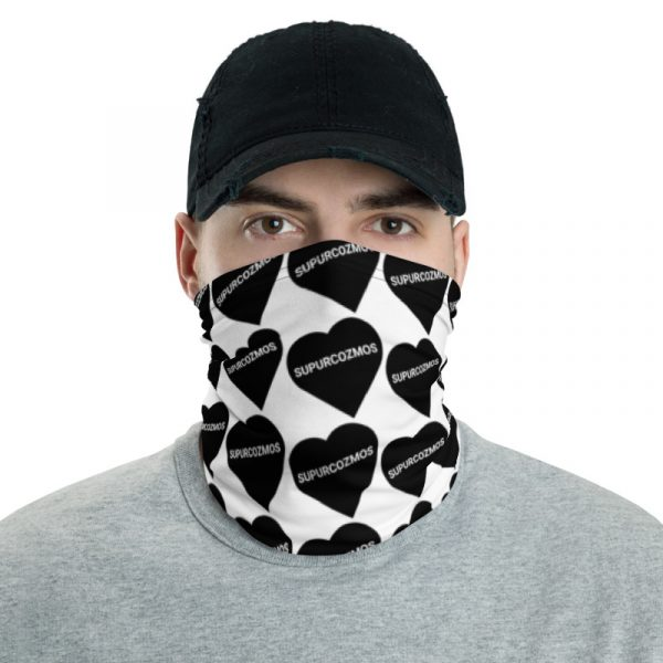 SUPURCOZMOS Black & White Sweetheart Motif Face Mask Neck Gaiter