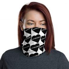 SUPURCOZMOS Black & White Sweetheart Motif Face Mask Neck Gaiter
