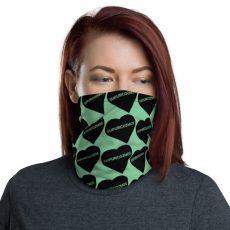 SUPURCOZMOS Green Sweetheart Motif Face Mask Neck Gaiter