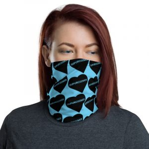 SUPURCOZMOS Blue Sweetheart Motif Face Mask Neck Gaiter