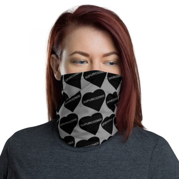 SUPURCOZMOS Gray Sweetheart Motif Face Mask Neck Gaiter