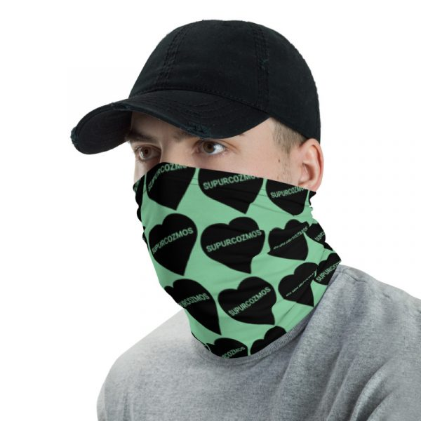 SUPURCOZMOS Green Sweetheart Motif Face Mask Neck Gaiter