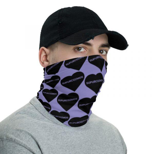 SUPURCOZMOS Purple Sweetheart Motif Face Mask Neck Gaiter